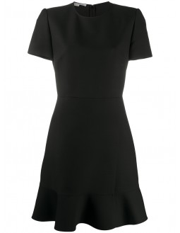 Fit And Flare Short Sleeved Dress - Black