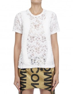 Centre-Slit Lace T-Shirt - White