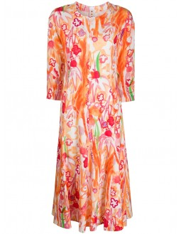 Slash Neck Waterfall Print Day Dress - Orange