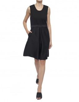 Double Satin Organza With Clean Face Interlock Dress - Black