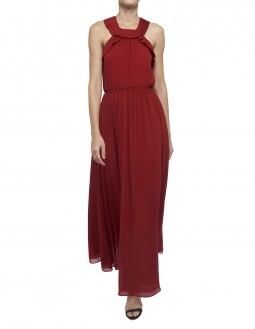 Pleated Poly Georgette Long Dress - Red