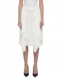 Dry Touch Crepe With Envers Satin Skirt - Off White