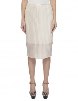 Lightweight Charmeuse Pleated Skirt - Shine - Fully Lined - Beige