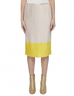 Lightweight Charmeuse Pleated Skirt - Shine - Fully Lined - Off White