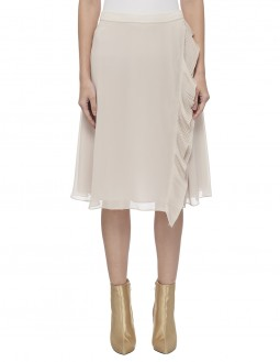 Pleated Poly Georgette Circular Skirt With Frill - Fully Lined - Beige