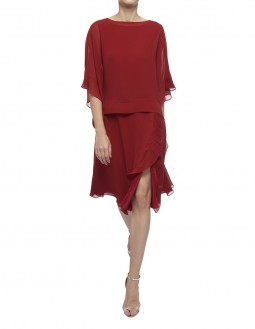 Pleated Poly Georgette Circular Skirt With Frill - Red