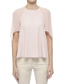 Printed Lightweight Pleated Cdc Top - Pink