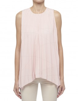 Printed Lightweight Pleated CDC Blouse - Fully Lined - Pink