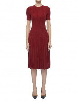 Crepe Cotton Ribbed Dress  - Red