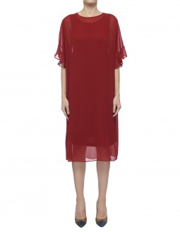 Light Drape Jersey With Poly Georgette Dress - Red