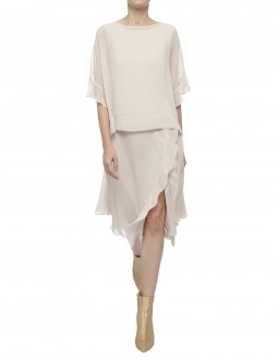 Light Drape Jersey With Poly Georgette Top - Beige