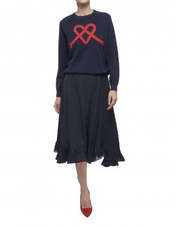 Dry Touch Crepe Frill Skirt - Self Lined - Navy