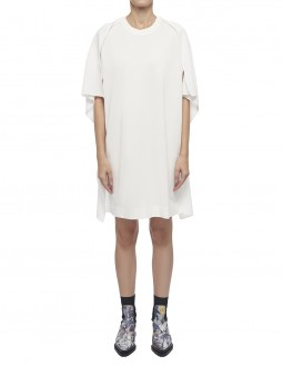 Classic Cotton With Crepe Satin Dress - Off White