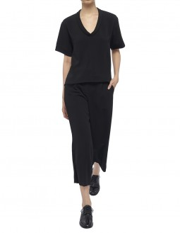 Stretch Poly Crepe Culottes - Black