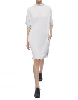 Soft Matte Jersey Cowl Dress - Grey