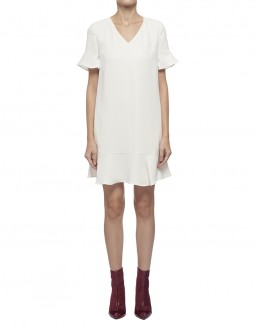 Fluid Poly Crepe Dress - Off White